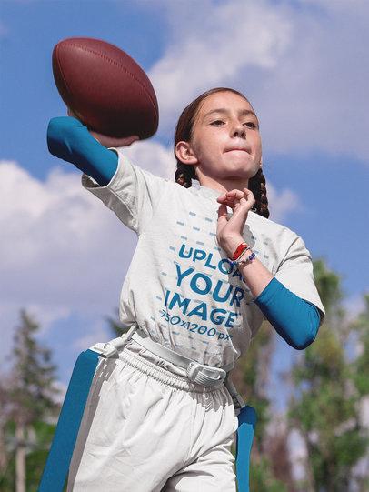 Custom Football Jerseys - Little Girl Throwing the Ball a16513