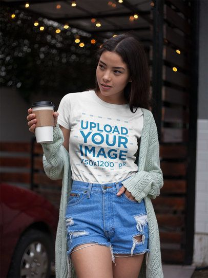 Tshirt Mockup of an Asian Girl Having a Coffee Outdoors a17470