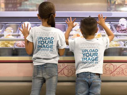 Two Kids Wearing T-Shirts Mockup Waiting for Ice Cream from the Back a17617