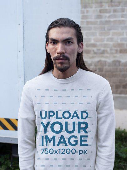 Portrait of an Asian Man Wearing a Crewneck Sweatshirt Template a17590
