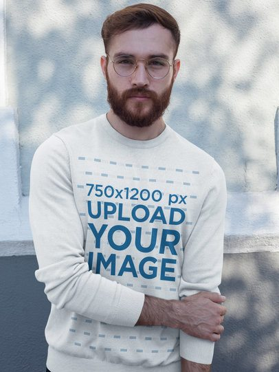 Redhead Man Wearing a Crew Neck Sweatshirt Template While Standing Against a White Wall a17730