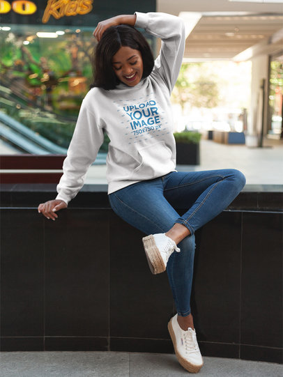 Girl Hanging Out Wearing a Pullover Hoodie Template While Outdoors a17745