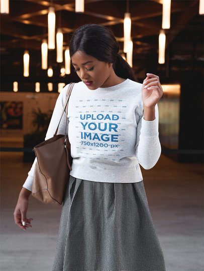 Fashion Girl Wearing a Crewneck Sweatshirt Template a17748
