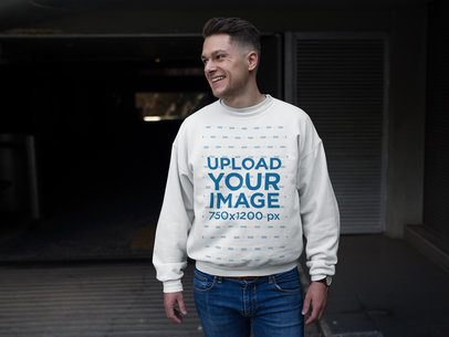 Smiling White Man Wearing a Crew Neck Sweatshirt Template While Walking a17854