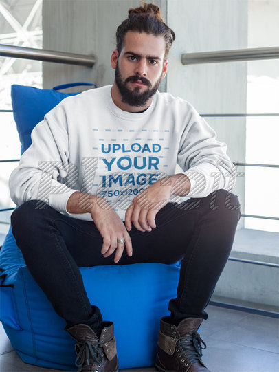 Hipster Looking to the Camera Wearing a Crewneck Sweatshirt Template a17756
