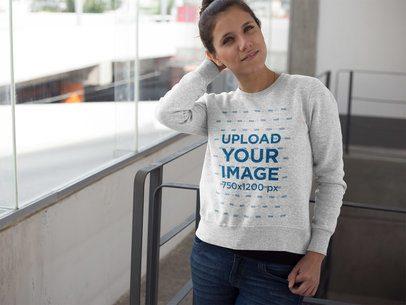 Pretty Girl Wearing a Crew Neck Sweatshirt Template a17637