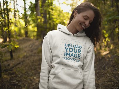 Mockup of Woman Wearing a Crew Neck Sweatshirt  While in the Woods 17905