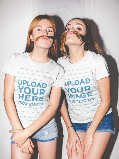 Funny Girls Wearing Tshirts Mockup while Playing with their Hair a17963