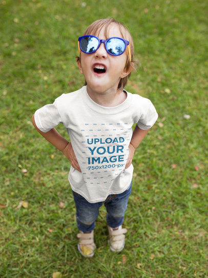 Boy with Toy Glasses Wearing a Tshirt Mockup Making Faces a17952