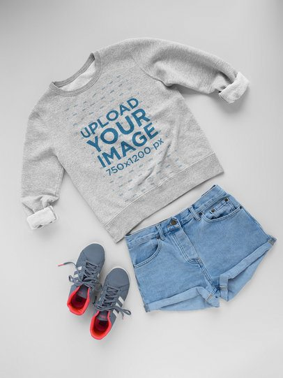 Shorts and Sneakers with Crew Neck Sweatshirt Template Lying on a White Surface a17962