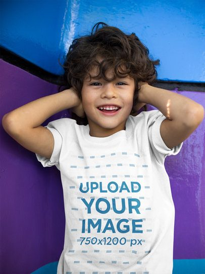 Kid Covering his Ears Wearing a Tshirt Mockup  a17863