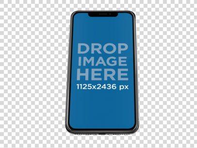 Jet Black iPhone X Mockup Floating Against a Transparent Backdrop a13832