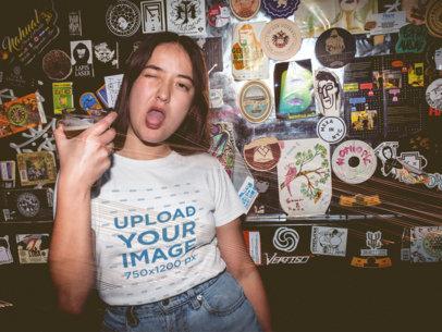 Girl Rocking the Night Wearing a T-Shirt Mockup at the Bar a18855