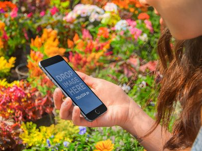 Black iPhone 6 On Flowers Field