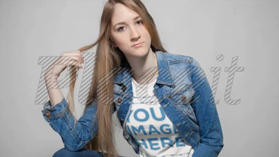 Lovely Girl Twirling her Hair Wearing a T-Shirt Cinemagraph Mockup a13301