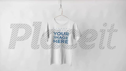 Round Neck T-Shirt Video Hanging Over a White Background a13144