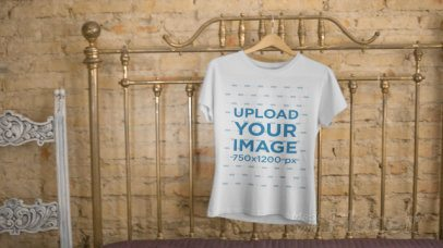 T-Shirt on a Hanger in a Vintage Room Video Mockup a13142