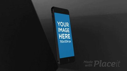 Black iPhone Video Floating and Rotating Mockup a15634