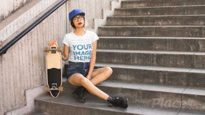 Trendy Girl Wearing a Round Neck T-Shirt Cinemagraph While Her Skate Wheels Moving a13605