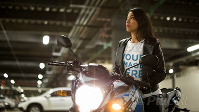 Young Lady Wearing a T-Shirt Cinemagraph and a Leather Jacket Sitting on her Motorcycle With Lights a13578