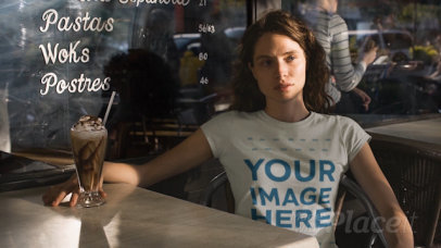 Pretty Girl Using a Round Neck T-Shirt Cinemagraph while at a Bar a13537