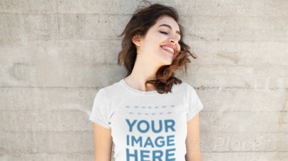 Beautiful Girl Shaking her Head Wearing a Round Neck T-Shirt Stop Motion Mockup a13598