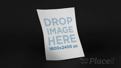 Floating Flyer Over Black Background Stop Motion Mockup a13634b