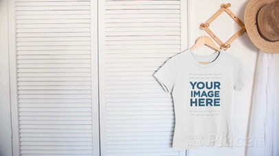 Simple Round Neck Tee Video Hanging on a Closet Door a13087