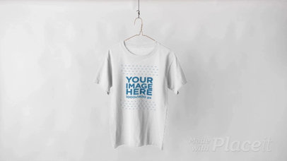 T-Shirt Video Hanging Over a White Background a13144