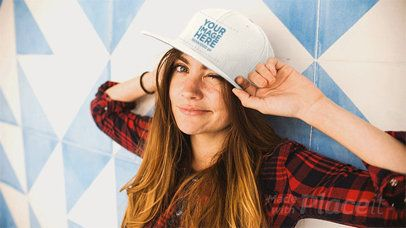 Young White Woman Wearing A Hat Takes It Off Stop Motion Mockup a13704b