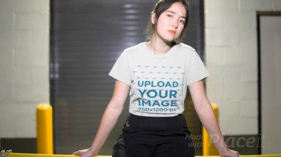 Asian Girl Wearing a T-Shirt Video in an Urban Environment at Night a13600