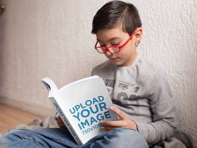 Little Boy Reading a Book Mockup with His Glasses On a19148