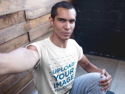 Selfie of a Man Wearing a T-Shirt Mockup After Yoga Class a19965
