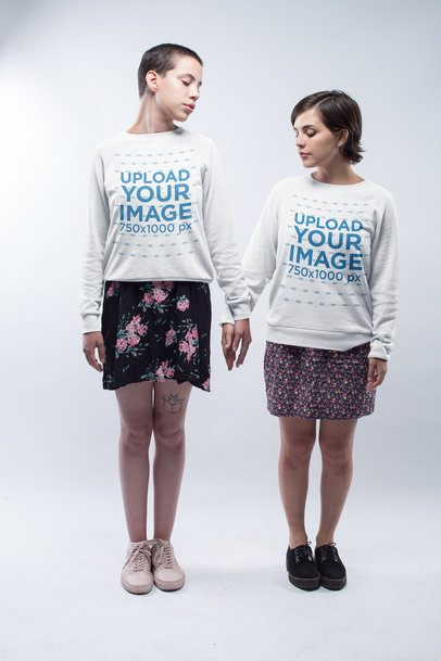LGBT Pride Sweatshirt Mockup Featuring a Couple Holding Hands a19983