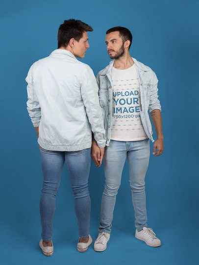 LGBT T-Shirt Mockup Being Worn by a Man Holding his Boyfriend's Hand a19974