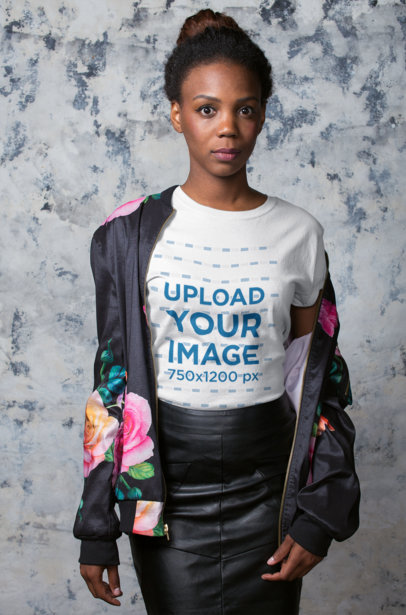 Portrait of a Black Girl Wearing a T-Shirt Mockup and a Printed Jacket a19762