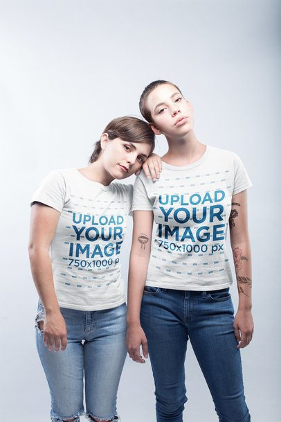 Mockup Featuring an LGBT Couple Wearing T-Shirts Against a White Background a19978