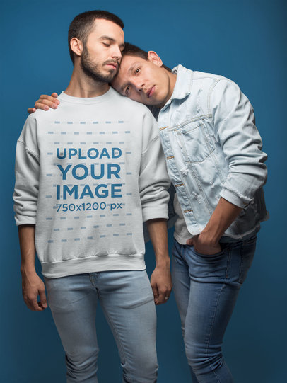 Gay Sweater Mockup of a Couple Hugging in a Blue Room a19975