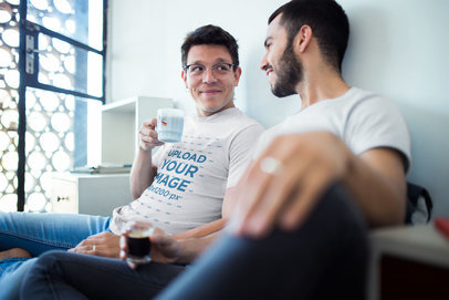 Gay T-Shirts Mockup Featuring a Couple Having a Coffee Before Work a19986