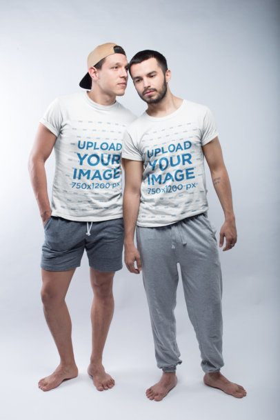Gay Pride Shirts Mockup Standing Close to Each Other in a Photo Studio a19989