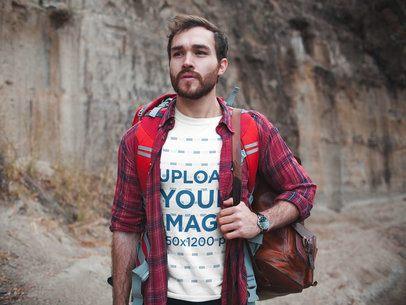 Man Exploring a Canyon Wearing a T-Shirt Mockup a19038
