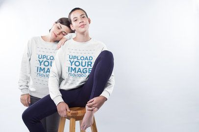 LGBT Pride Sweatshirt Mockup of a Couple in a Studio a19981