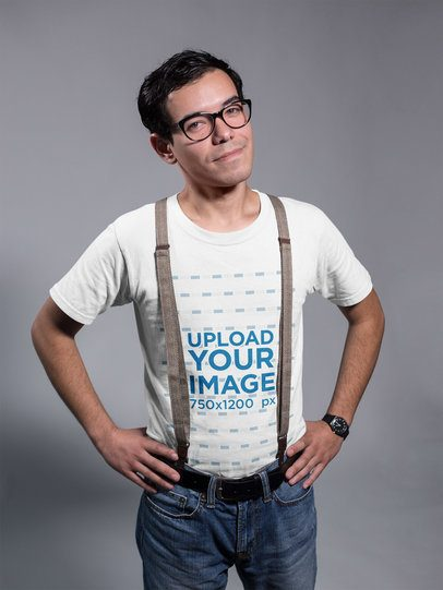 Optimistic Nerdy Dude Wearing a T-Shirt Mockup a19354