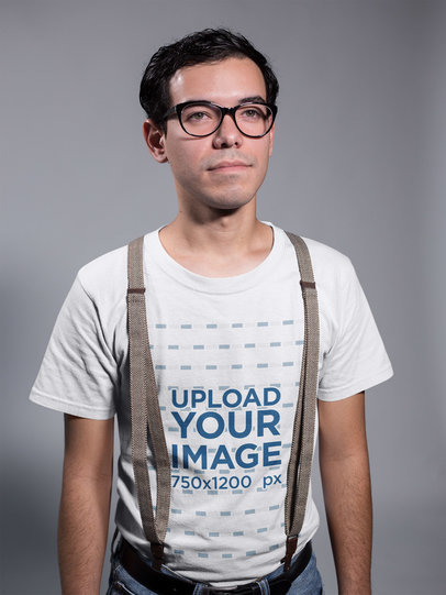 Nerd Guy Wearing a T-Shirt Mockup and Suspenders a19353