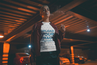 Short-Haired Girl Wearing a T-Shirt While Smoking at Night a18915
