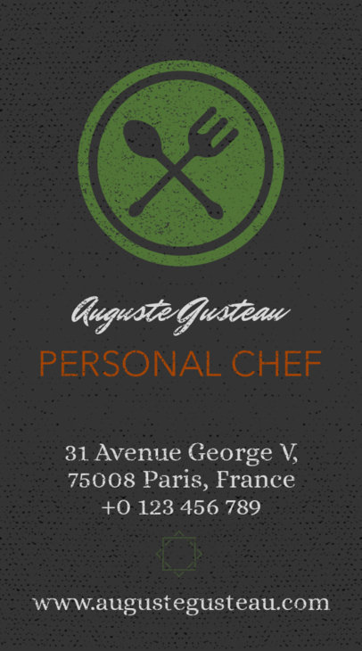 Placeit personal chef business card maker with vertical layout vertical catering business card template colourmoves
