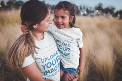 Mom and Daughter Mockup Wearing Tshirts Outdoors a20196