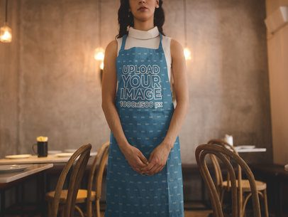 Cropped Face Girl Wearing an Apron Mockup while Working a19819