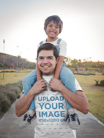 Smiling Dad Wearing a T-Shirt Mockup Walking with his Son a20194
