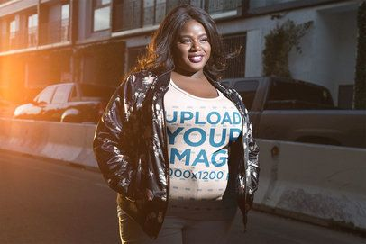 Mockup of a Happy Woman Wearing a Plus Size Tee on the Street 18225